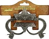 """J.G.Schrödel """"Sheriff-Set antik"""": Zweiteiliges Set mit Handschellen und Sheriffstern für Cowboys oder Sheriffs, ideal für Fasching, silber / grau (712 7377)"""