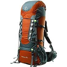 facenature Deportes al aire libre impermeable escalada senderismo mochila profesional montañismo bolsa viaje 70L mochila de senderismo (grande con cubierta de lluvia (puede extensión A 80L), mujer Infantil hombre Unisex, F30902, naranja