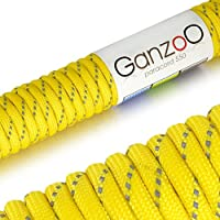 'Reflective Universal Survival Rope Made of tear-resistant Parachute Cord/Paracord 550 Core Rope Nylon, 550lbs, Total Length 31 Meters (100 ft) Colour: Yellow Please note: This Paracord Rope is not suitable for Climbing - Ganzoo by Ganzoo