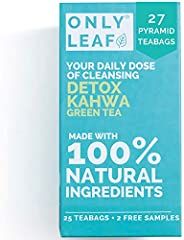 ONLYLEAF Detox Kahwa Green Tea (27 Pyramid Tea Bags) For Natural Body Cleanse & Cold Relief, Made with 100