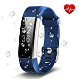 Antimi Fitness Armband, Wasserdicht IP67 Fitness Tracker, Pulsuhren, Schrittzähler, Kamerasteuerung, Vibrationsalarm Anruf SMS Whatsapp Beachten Kompatibel mit iPhone Android Handy (Blau) -