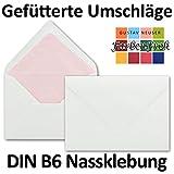 Weiße Briefumschläge Rosa gefüttert | 50 Stück | DIN B6 Format 125 x 176 mm | mit Farbigem Seidenfutter | Nassklebung | ohne Fenster | ideal für Weihnachten, Grußkarten und Einladungen