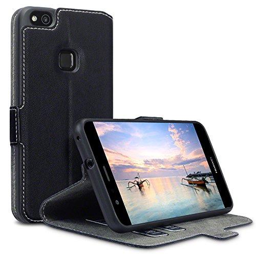 P10 Lite Case, Terrapin Leder Tasche Case Hülle im Bookstyle mit Standfunktion Kartenfächer für Huawei P10 Lite Hülle Schwarz