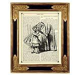 Alice im Wunderland Tür Poster Kunstdruck auf antiker Buchseite Kinderzimmer Deko Geschenk SW Bild ungerahmt