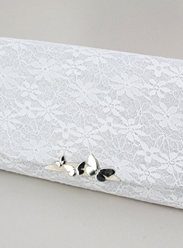 Pochette de soirée femme avec dentelle et paillettes fines plusieurs couleurs au choix - PRODUIT STOCKÉ ET EXPÉDIÉ RAPIDEMENT DEPUIS LA FRANCE Blanc