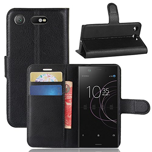 Sony Xperia XZ1 Compact Bumper PU Leather Wallet Case Flip Kickstand Function Ultra Folio Flip Slim Card Holder Case Cover Skins for Sony Xperia XZ1 Compact (Black) Ultra Compact Camera Case