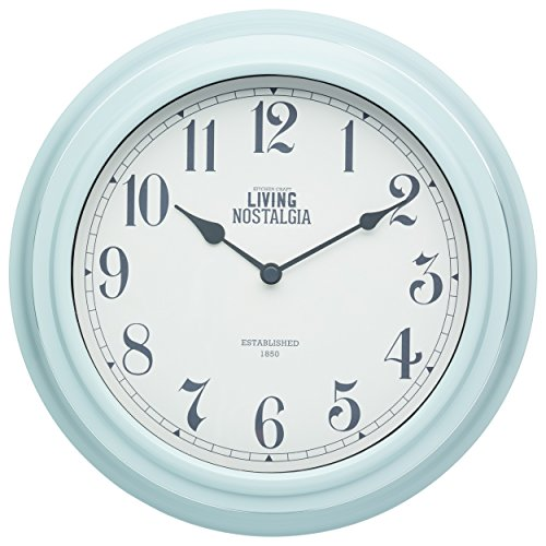 KitchenCraft Living Nostalgia Analogue Wall Clock, Blue, 25.5 cm