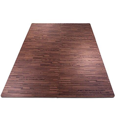 GORILLA SPORTS® Schutzmatten-Set mit Endstücken - Puzzle-/Unterleg-Matten 62 x 62 x 1,2 cm (Holzoptik dunkel)