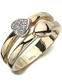 Gioie Bague Femme en Or 18 carats Blanc/Jaune avec Zircon Blanc