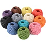 Advantez 12-Pack Cordón de cuerda de cuerda de arpillera de arpillera Natural diámetro de la cuerda de arpillera torcida 2.0MM