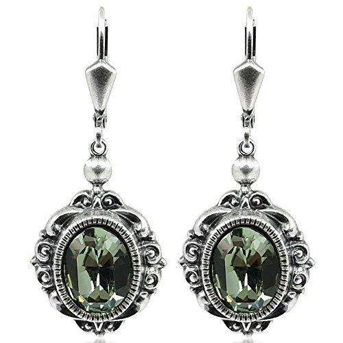 Vintage Ohrringe mit Kristallen von Swarovski® Grau Silber NOBEL SCHMUCK - 3