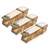 Gardigo 623583 - Set de 3 Souricière Souris - Pièges à Souris Vivants; Humain et Réutilisable; Mouse Trap Intelligent; pour Intérieur et Extérieur; 18 x 6 x 5 cm
