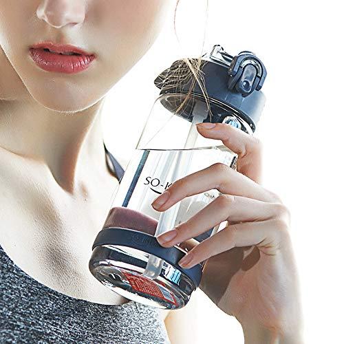 BANCHUN Sport Fitness Wasserkocher Kunststoff Wassertasse tragbare lecksichere Stroh Tasse Ruhig blau 500ml (Tee-und Wasserkocher Ruhigen)