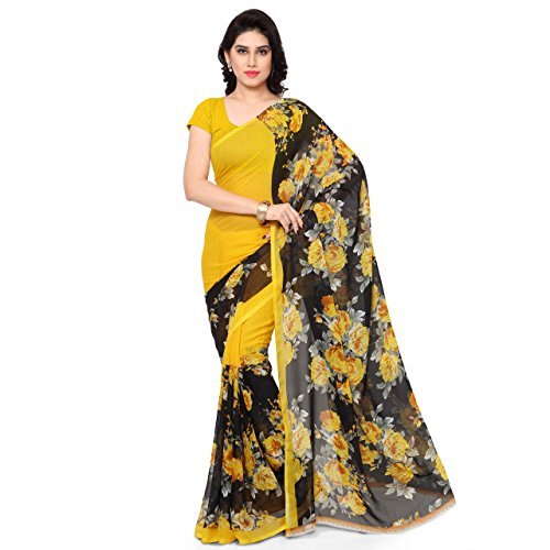 Anand Sarees Faux Georgette Printed Saree with Blouse Piece 1152.P_Yellow and Black