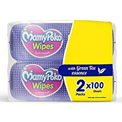 Mamy Poko Pants Soft Baby Wipes (100 Count) Pack Of 2