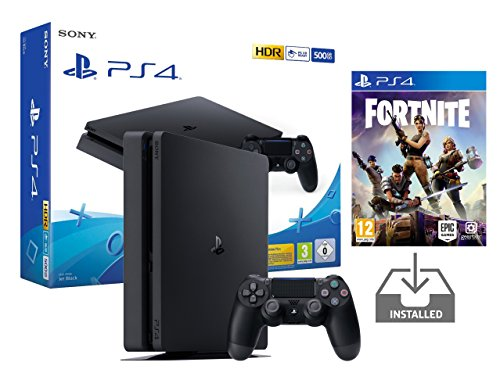 "PS4 Slim Console Playstation 4 Noir Pack + Fortnite: Battle Royale ""Préinstallé"" (Noir 500Go + Fortnite)"
