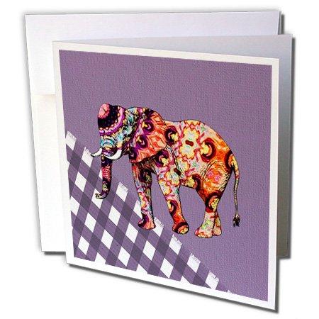 3drose Bild von Multi Farbe Madre Elefant auf Lila Checks-Grußkarte, 15,2x 15,2cm Single (GC 233702_ 5) -