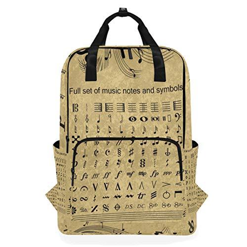 Rucksäcke für Schule, Buchtasche, Reisen, Wandern, Camping, Tagesrucksack für Jungen und Mädchen, 26,7 x 14 x 38,1 cm, für 35,6 cm Laptop (komplettes Set mit Musiknoten und Symbolen) -