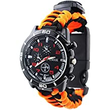 Outdoor Survival Watch Military Gents Watch Arabic Numerals Decorative Sub-Dials Compass Thermometer Paracord Rope Bracelet Wrist Strap Hand-Woven Wrist Watches For Men, Orange Black