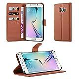 Cadorabo Hülle kompatibel mit Samsung Galaxy S6 Edge Plus Hülle in Schoko BRAUN Handyhülle mit Kartenfach und Standfunktion Schutzhülle Etui Tasche