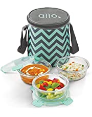 Allo FoodSafe Microwave Safe Glass Lunch Box with Break Free Detachable Lock | 450°C Oven Safe High Borosilicate | Office Tiffin with Chevron Mint Flat Bag | Set of 3