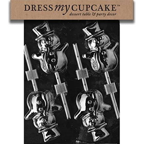 Dress My Cupcake DMCC086 Chocolate Candy Mold, Snowman Lollipop, Christmas by Dress My Cupcake