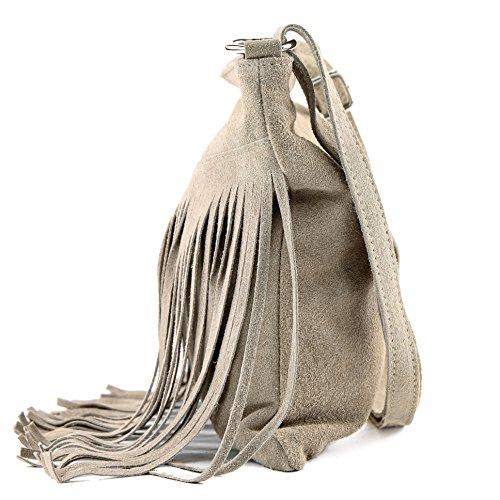 Borsa a mano borsa a tracolla shopping bag donna in vera pelle italiana T02 T145 Sandfarben