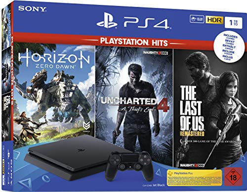 PlayStation 4  - Hits Bundle (1TB, schwarz, slim) inkl. Uncharted 4, The Last of Us, Horizon Zero Dawn [Edizione: Germania]