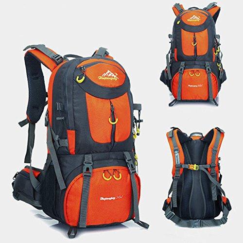 50 litri Zaini da escursionismo, ideale per lo sport all'aperto, trekking, trekking, viaggi di campeggio, montagna. Borsa per alpinismo impermeabile, Daypack da arrampicata da viaggio, Zaino da zaino, Zaino. (Arancione)
