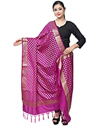 Asavari Magenta Banarasi Silk Dupatta With Golden Zari Butti Weaves