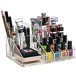 Inovera 16 Compartment Cosmetic Makeup Jewellery Lipstick Storage Organiser Box, Transparent