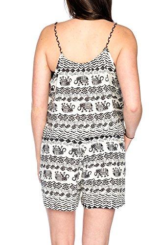 Kendindza Femmes Patterned Playsuit Jumpsuit Shorts MulticoloreCombinaison Sans Manche Salopette Taille Unique 003-14-Weiß