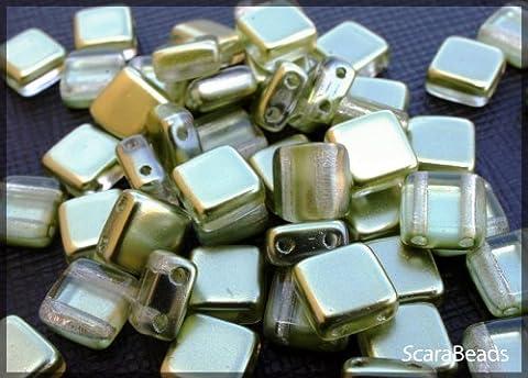 40pcs Czech Glass Two-Hole Tile Beads ESTRELA 6x6x3.2mm Olivine