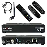 Maxytec Multibox 4K UHD 2160p H.265 HEVC Android & E2 Linux inkl. e40 Air Mouse Fernbedienung, WLAN, 8GB Flash, USB3.0, DVB-S2 Sat & DVB-T2/C Combo PVR HDR [vorprogrammiert Astra & Hotbird] Receiver