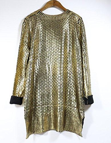 YouPue Oro Maglione Oversize Donne Manica Lunga Baggy Donna Maglia Maglione Pullover Girocollo Manicotto Del Blocco Maglione Oro