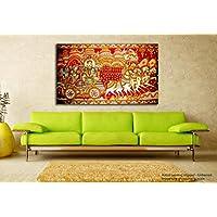tamatina Madhubani pintura en lienzo–Religiosa Krishna con Arjun–PINTURA en lienzo, tela, multicolor, Large