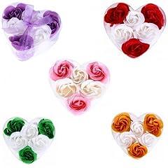Idea Regalo - Set di 15cofanetti a forma di cuore con 6fiori di sapone decorati con fiocco -saponi, saponette, cuori, petali di rose per regali di nozze, comunione, compleanno, San Valentino, regali