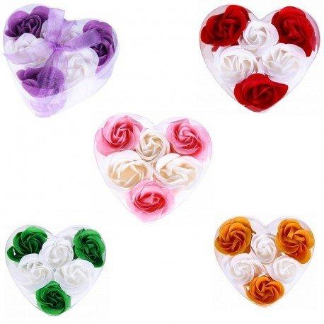Set di 15cofanetti a forma di cuore con 6fiori di sapone decorati con fiocco -saponi, saponette, cuori, petali di rose per regali di nozze, comunione, compleanno, san valentino, regali