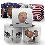 Donald Trump Toilettenpapier - Das Präsidentenpaket - 3 Rollen - Lustiges politisches Humorknebelgeschenk - 2 vollfarbige Rollen + 1 lustigste Trump-Tweets Rolle - Dreilagiges Badezimmertuch 200 Blatt