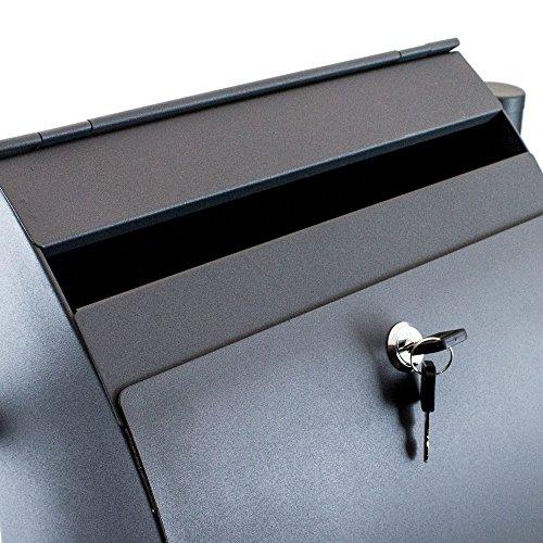 BITUXX® Doppel Standbriefkasten Briefkasten Postkasten Mailbox Letterbox Briefkastenanlage mit integrierten Zeitungsfach Dunkelgrau Anthrazit - 4