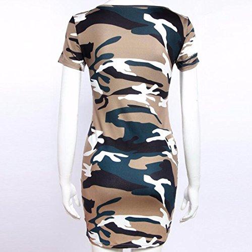 QIYUN.Z Courte Armee Manches Vert Camouflage Ete Package Hanche Robe Mince Des Femmes Armee Verte