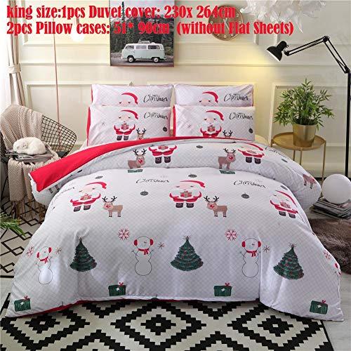 Yunt set di copri biancheria da letto natalizio, set copripiumino natalizio con federa per decorazioni natalizie