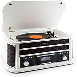 Auna Belle Epoque 1908 Minicadena estéreo con tocadiscos Bluetooth (reproductor de CD, casetes, MP3, AUX, USB, radio AM/FM, diseño retro, mando a distancia) - blanco/negro