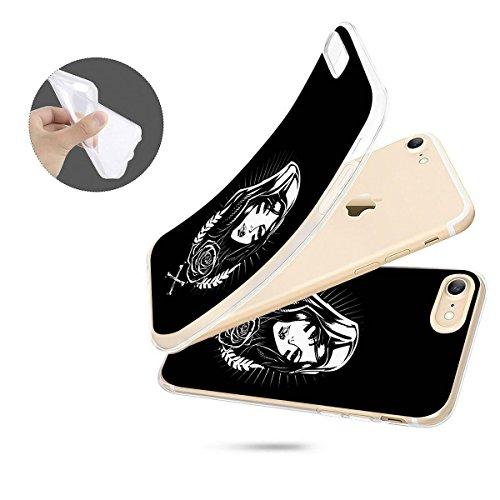 finoo | iPhone 8 Weiche flexible Silikon-Handy-Hülle | Transparente TPU Cover Schale mit Motiv | Tasche Case Etui mit Ultra Slim Rundum-schutz | Gameboy Cool girl