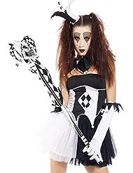 Halloween Gr.M Harlekin Hofnarr Theater Damen Kostuem Clown Harlequin Jester Zombie Horror Hexe Vampir Zombiekostuem