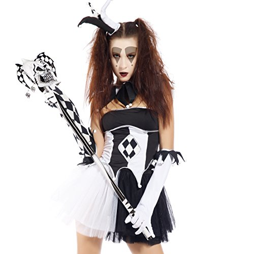 Anladia Halloween Harlekin Kostüm Damen witzig Karneval Halloween Kleid Clowns-Party Harlekin Hoffnarr (Kostüm Hofnarr Halloween Harlekin)