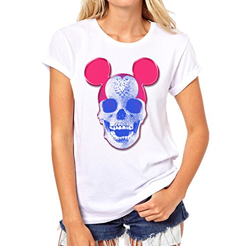 Skull Mickey Mouse Diamond Background Damen T-Shirt Weiß