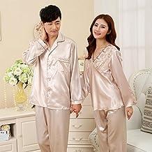MOXIN Parejas pijamas de seda de otoño y los hombres de invierno y las mujeres trajes