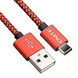 Onite USB Type C V2.0 Câble chargeur / synchronisation pour Samsung Galaxy A5 A7 (2017), LG G5 V20, Moto ZM, Google Nexes 5X 6P Pixel XL, HTC 10 U Ultra, Huawei P9 Mate 9 Plus G9 Note d'Honneur 8, Sony Xperia X Compact XZ, Microsoft Lumia 950, Oneplus 2 3 3T (Red-Black)