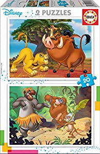 Educa Borrás- Rey Leon, el Libro de la Selva, Simba, Baloo Puzzle, Color Variado (18103)